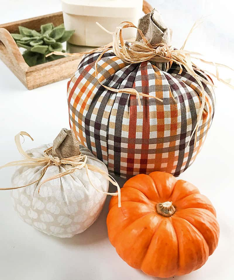 Simple diy fabric pumpkins display