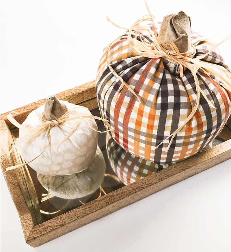 Simple diy fabric pumpkins on a tray