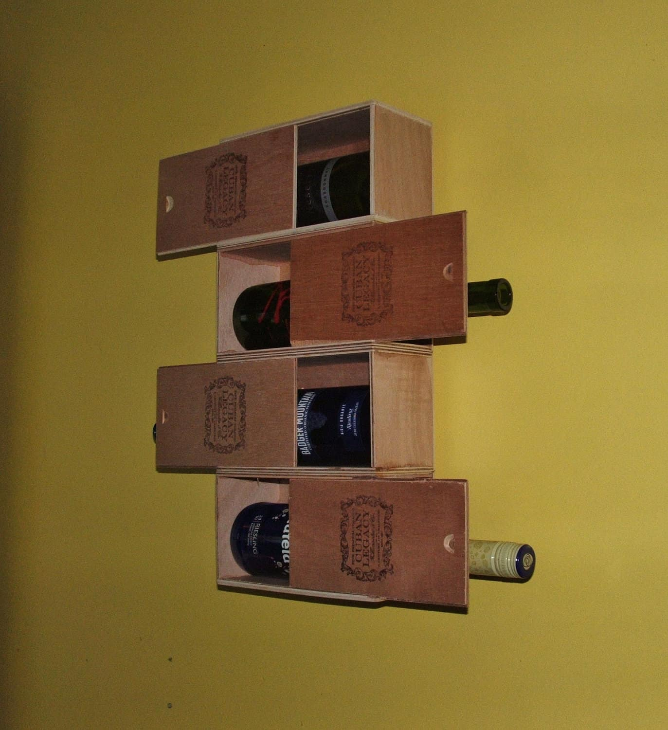 Stacked cigar box wine rack