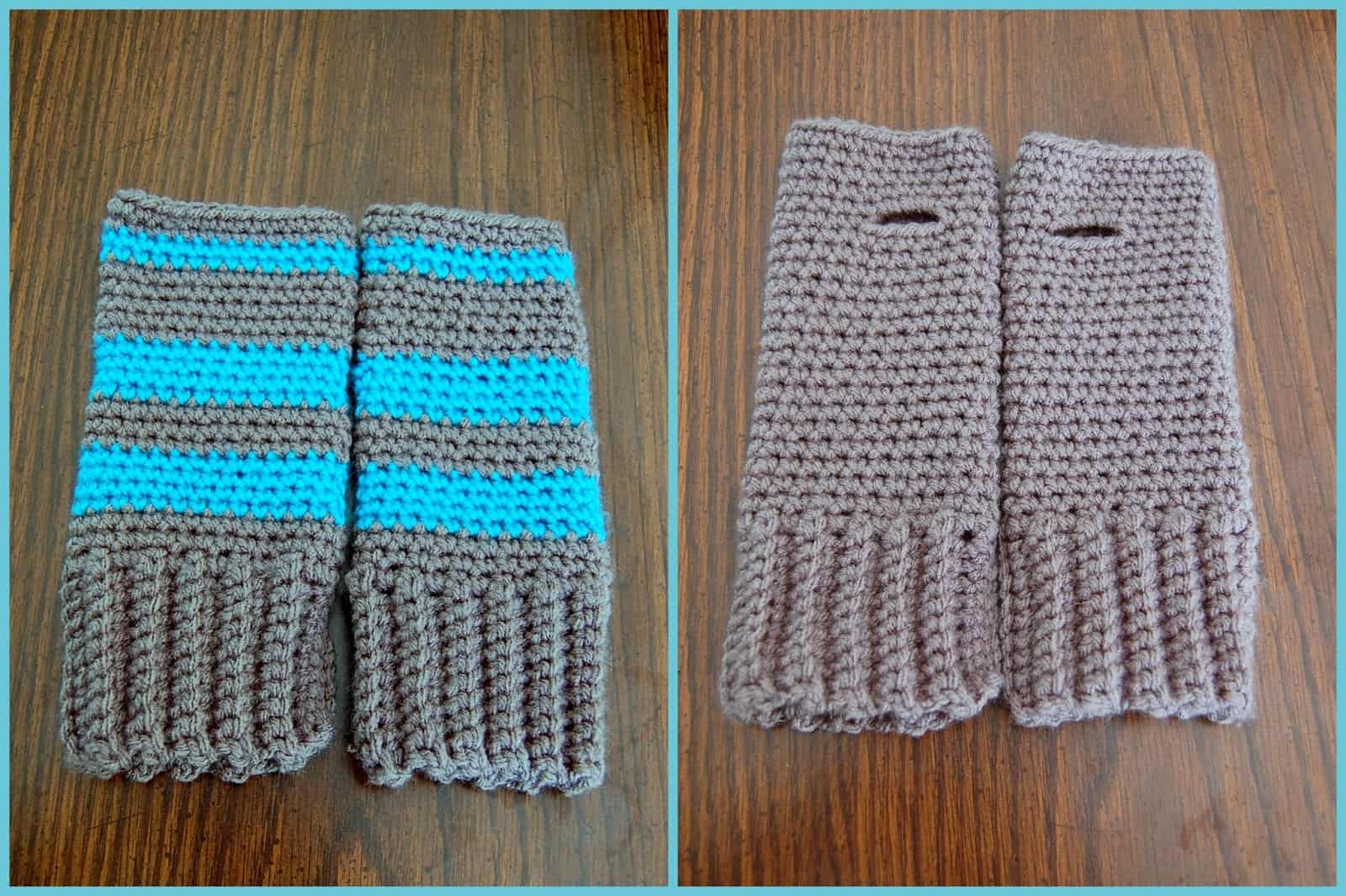 Super simple fingerless gloves (with or without stripes)