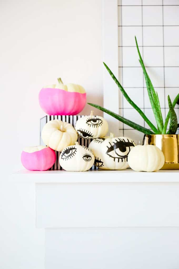 Tattooed eyeball mini pumpkins