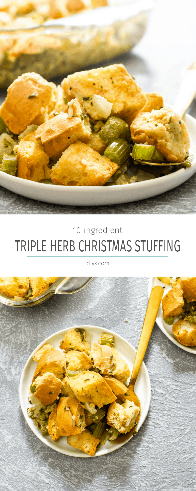 Triple herb christmas stuffing collage