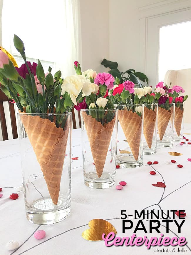 Waffle cone flower centrepieces