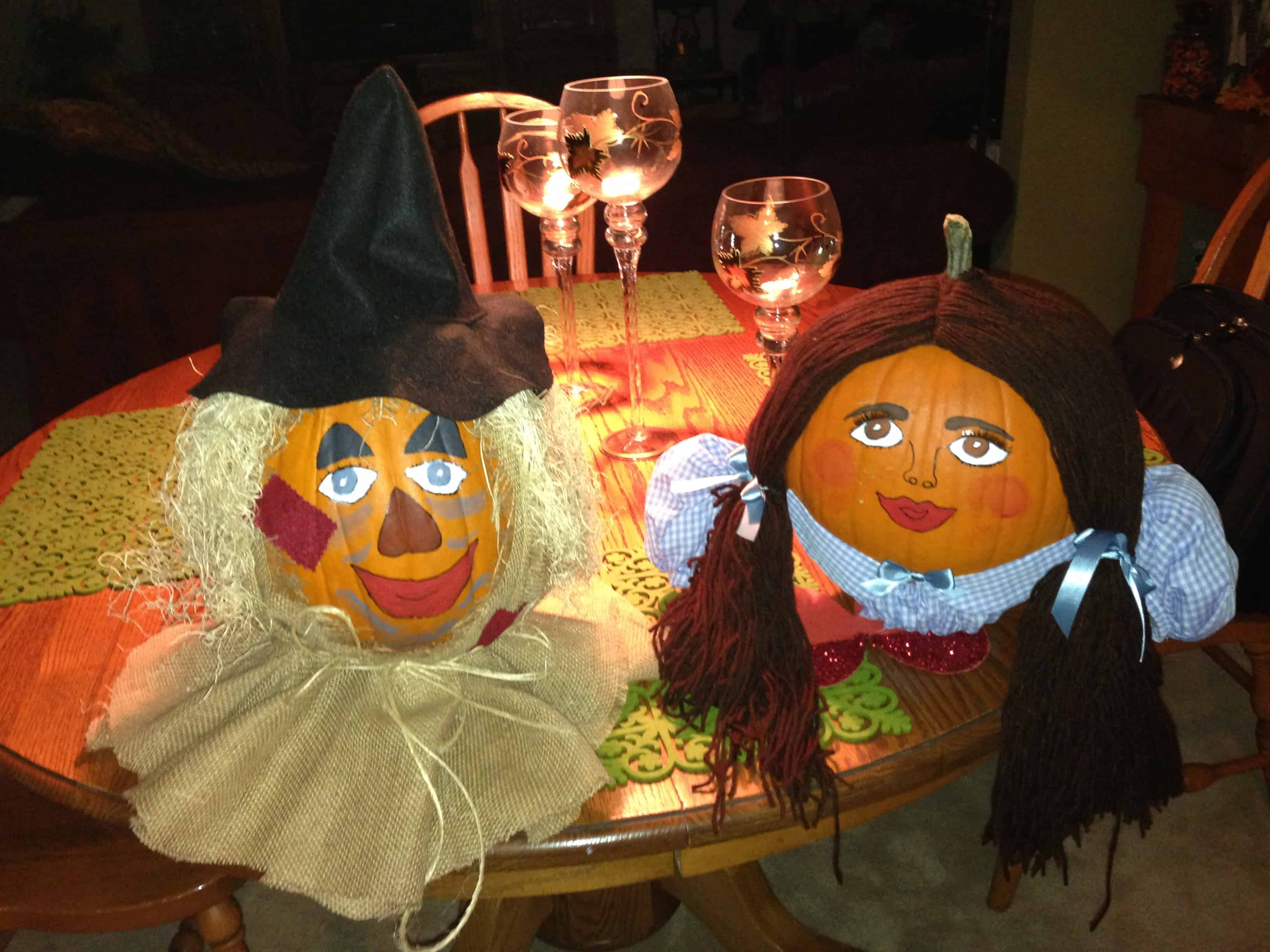 Wizard of oz themed pumpkin scarecrows