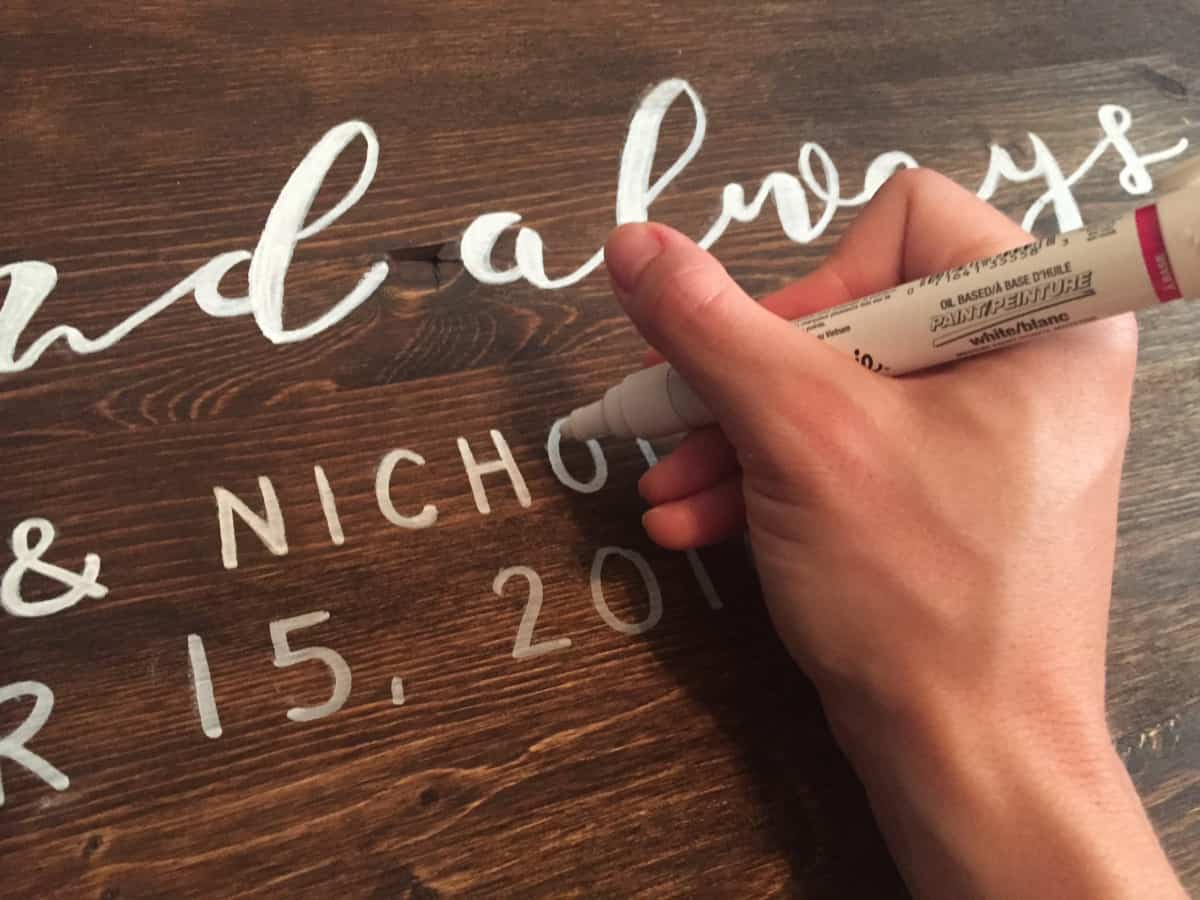 Wood and paint marker wedding welcome sign