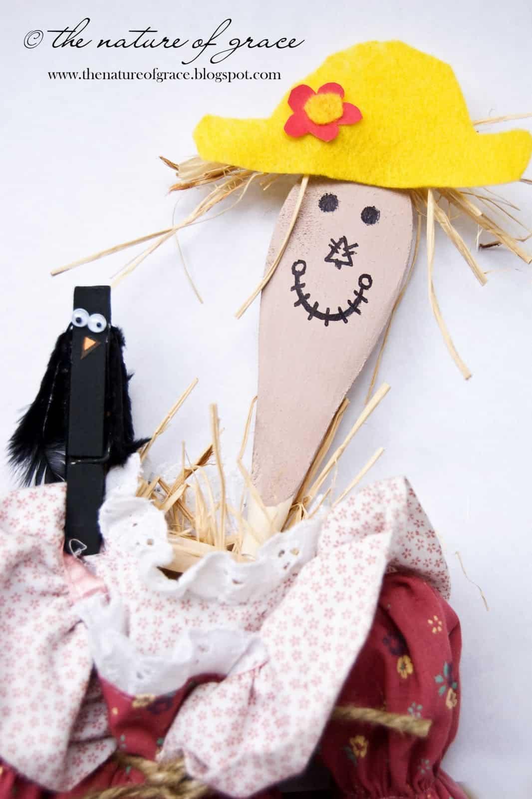Wooden spoon scarecrow