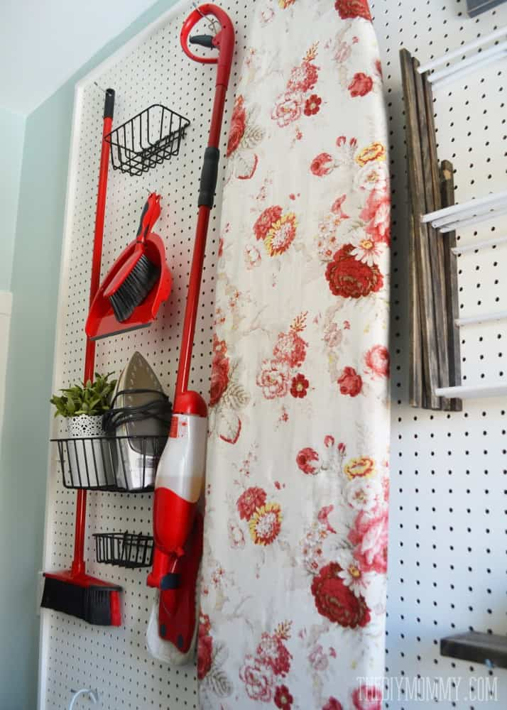 Add a pegboard in small laundry room