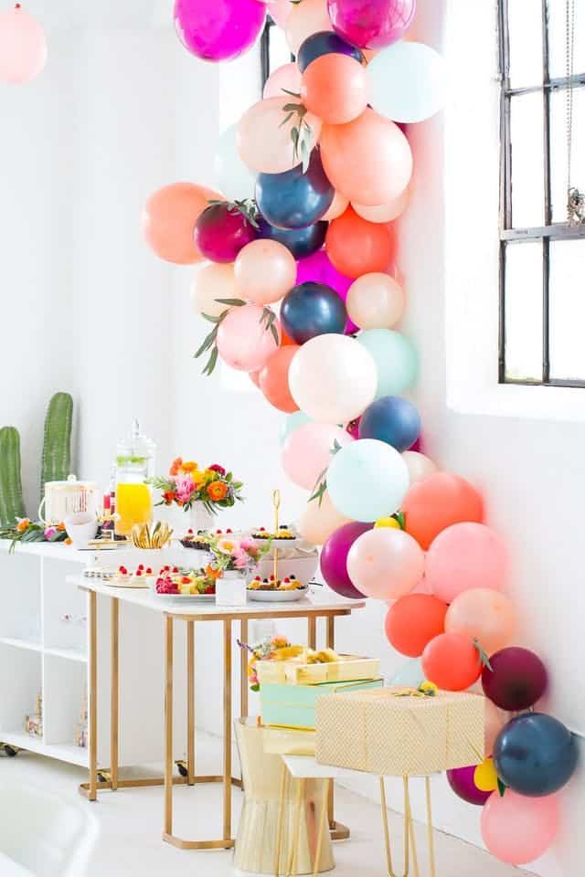 Balloon garland for bridal shower