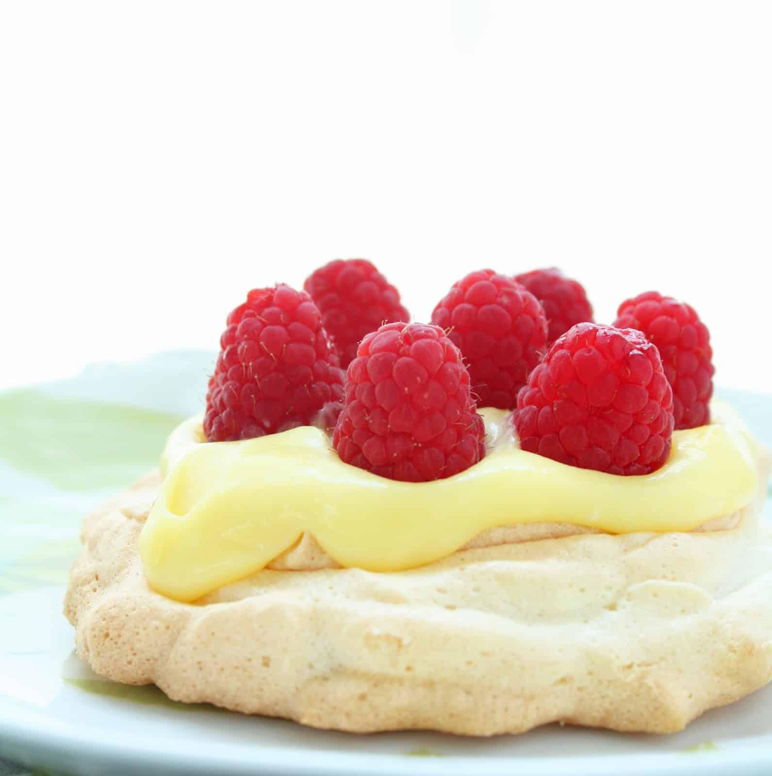 Berry and lemon curd pavlovas sugar free