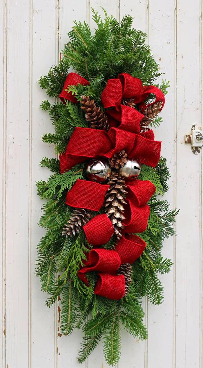 burlap bells door swag - Christmas Door Decorations
