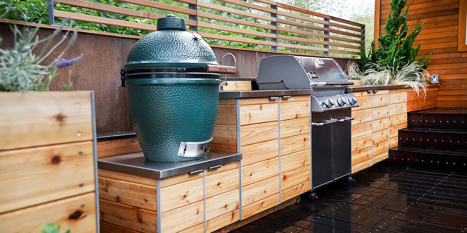 15 outdoor kitchen designs that you can help diy for Outdoor grill cabinet design