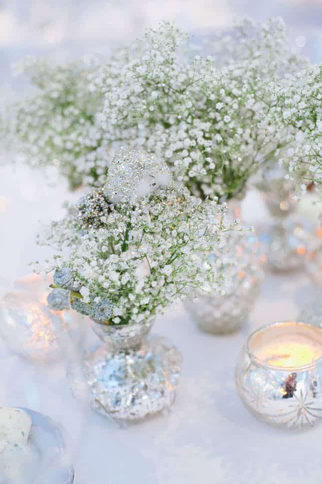 Creative frosted flower wedding centerpiece diy