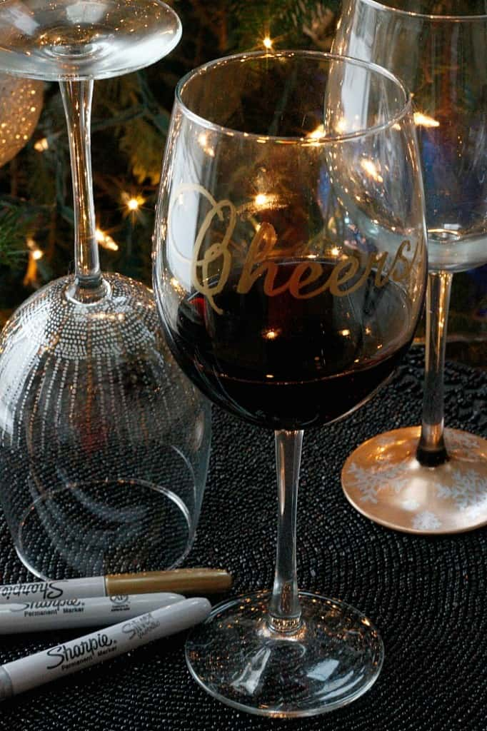 Diy cheers wine glasses