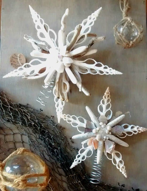 Diy christmas tree topper with seashells