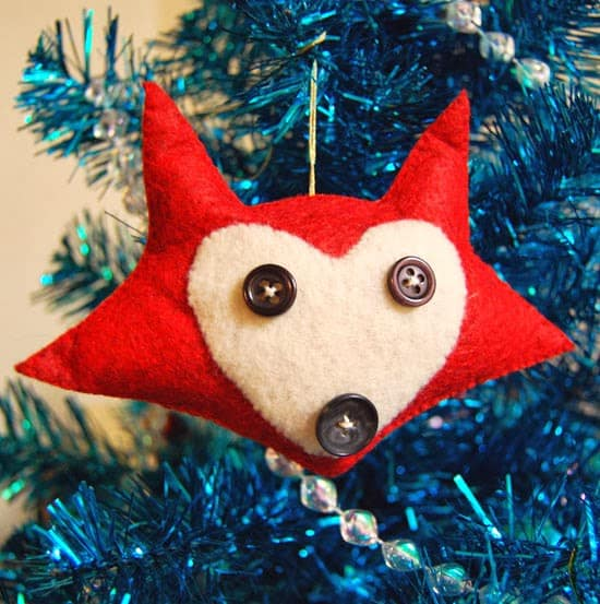 Diy felt fox ornament