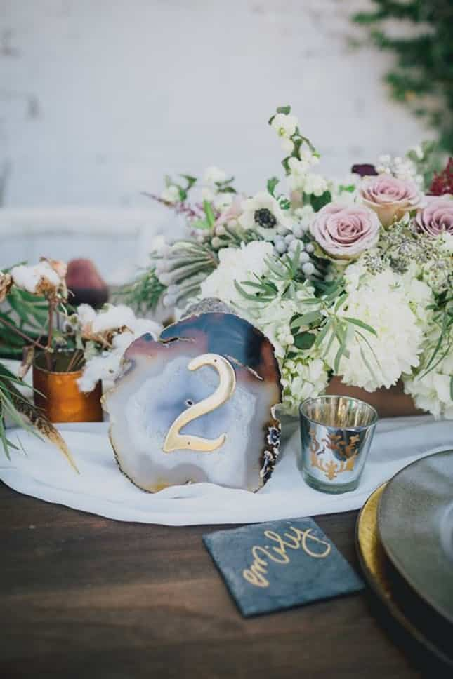 Diy geode wedding table numbers