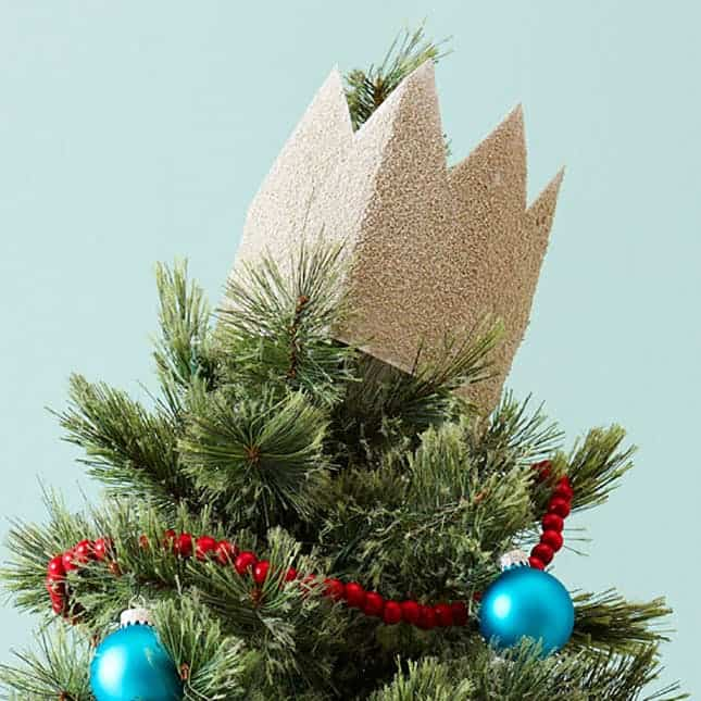 Diy glitter crown tree topper