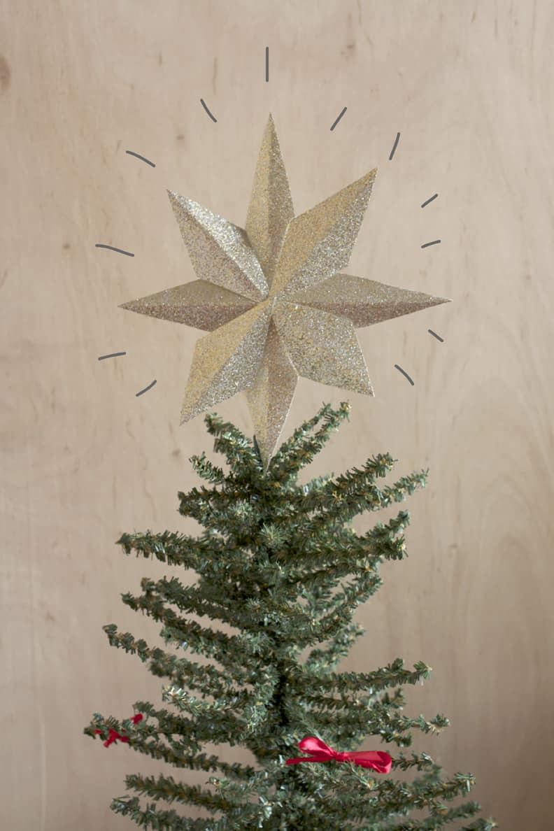 Diy glitter paper star tree topper