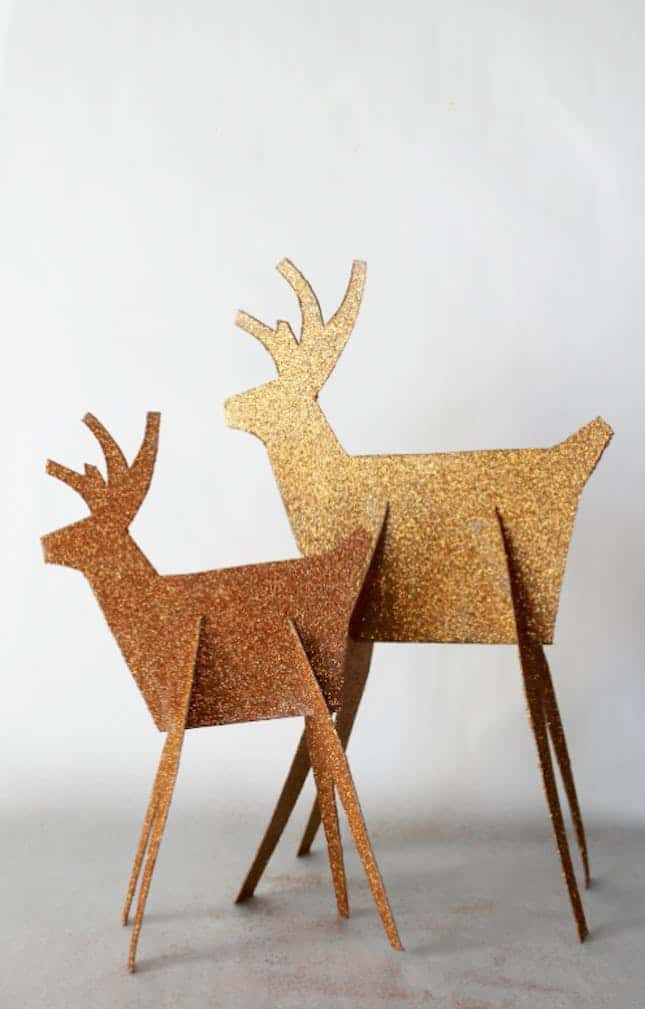Diy glitter reindeer decor