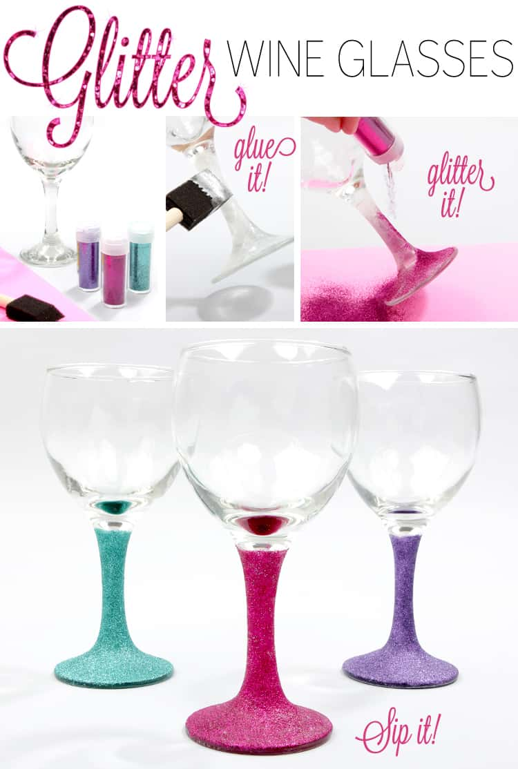 Diy glitter wine glasses
