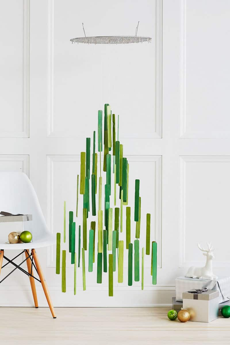 Diy hanging christmas tree with paint sticks