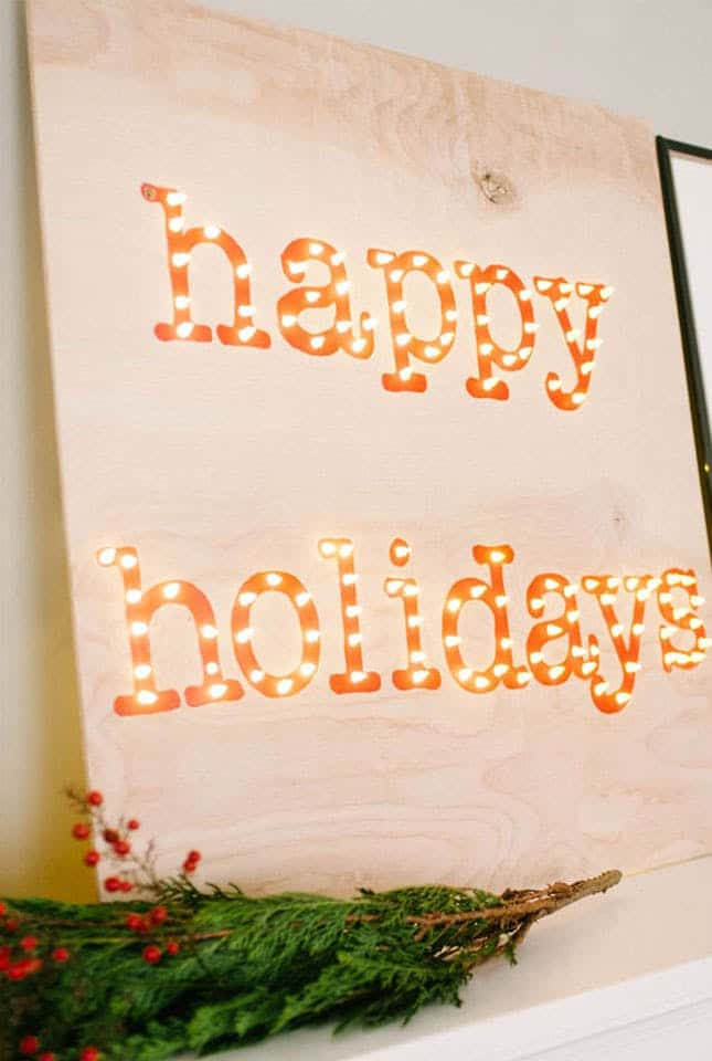 Diy happy holiday marquee sign