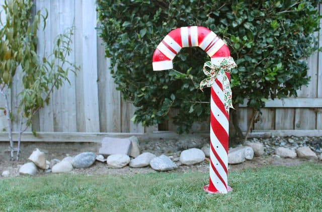 Diy lighted outside candy cane