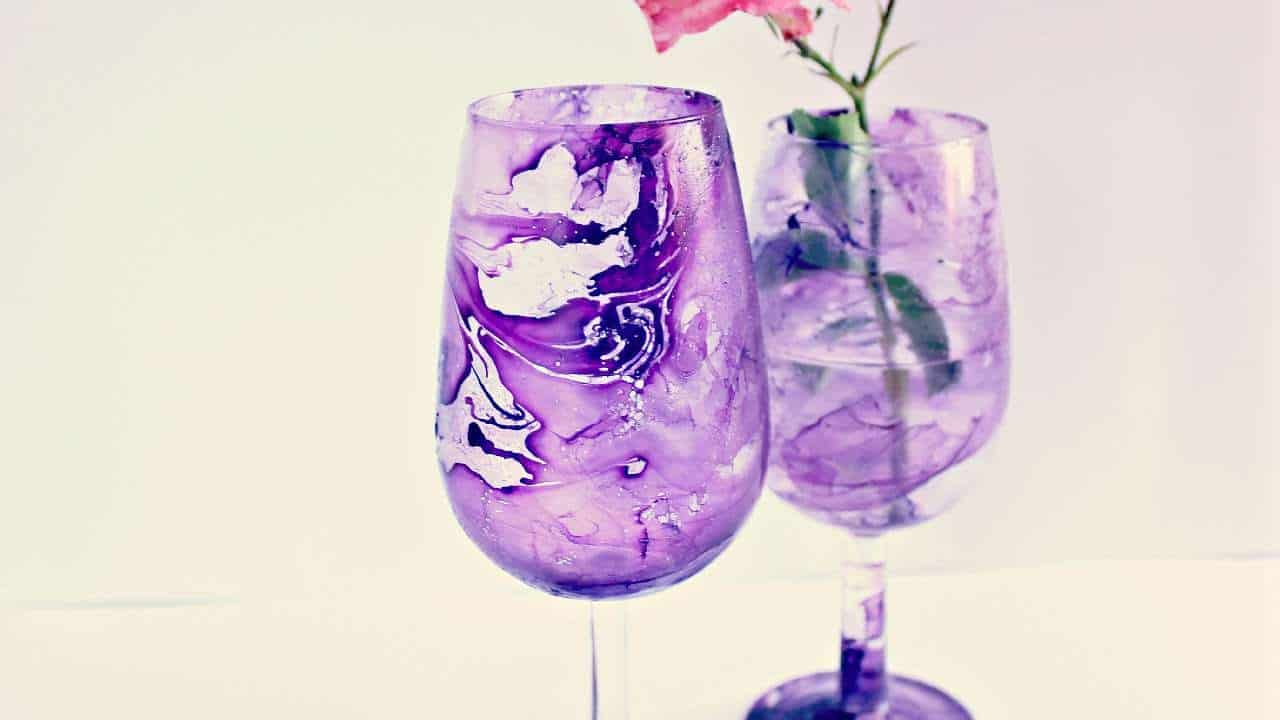 Diy marbled wine glasses