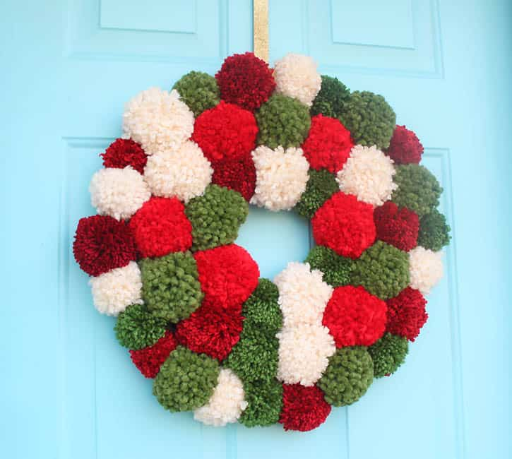 Diy pom pom wreath for christmas