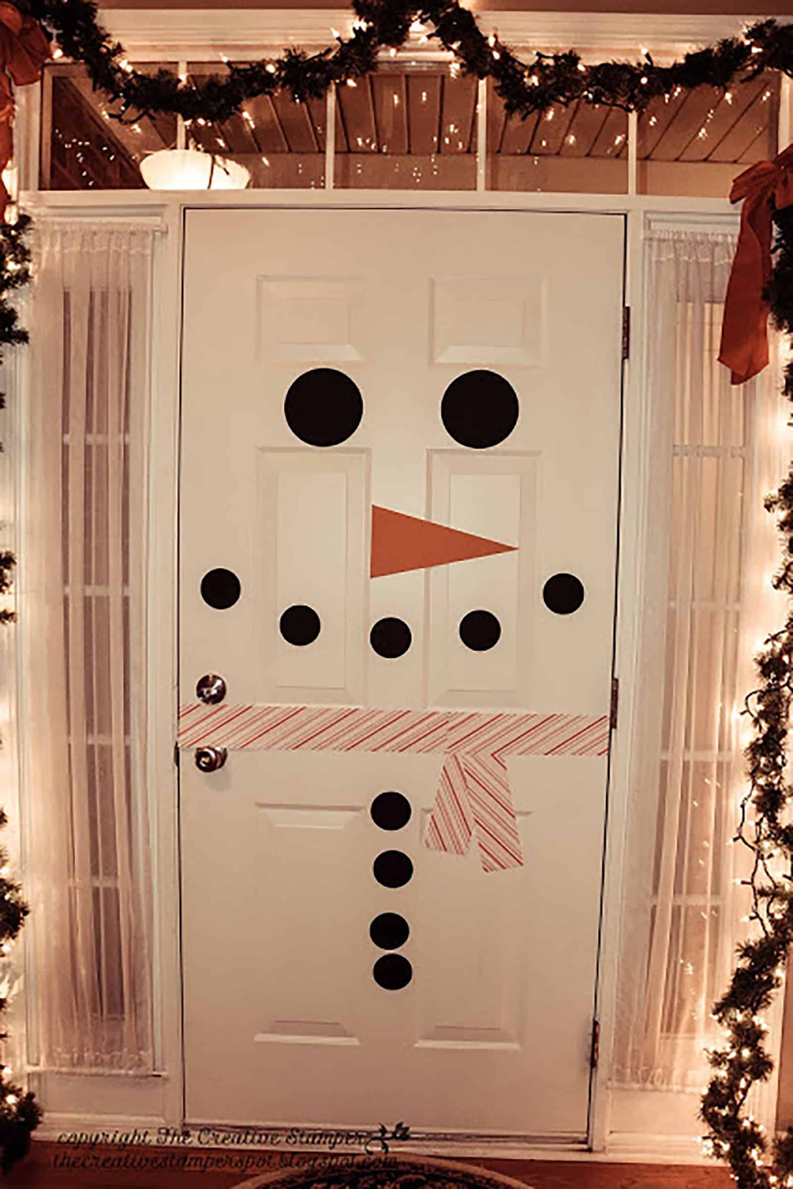 Diy snowman door decor