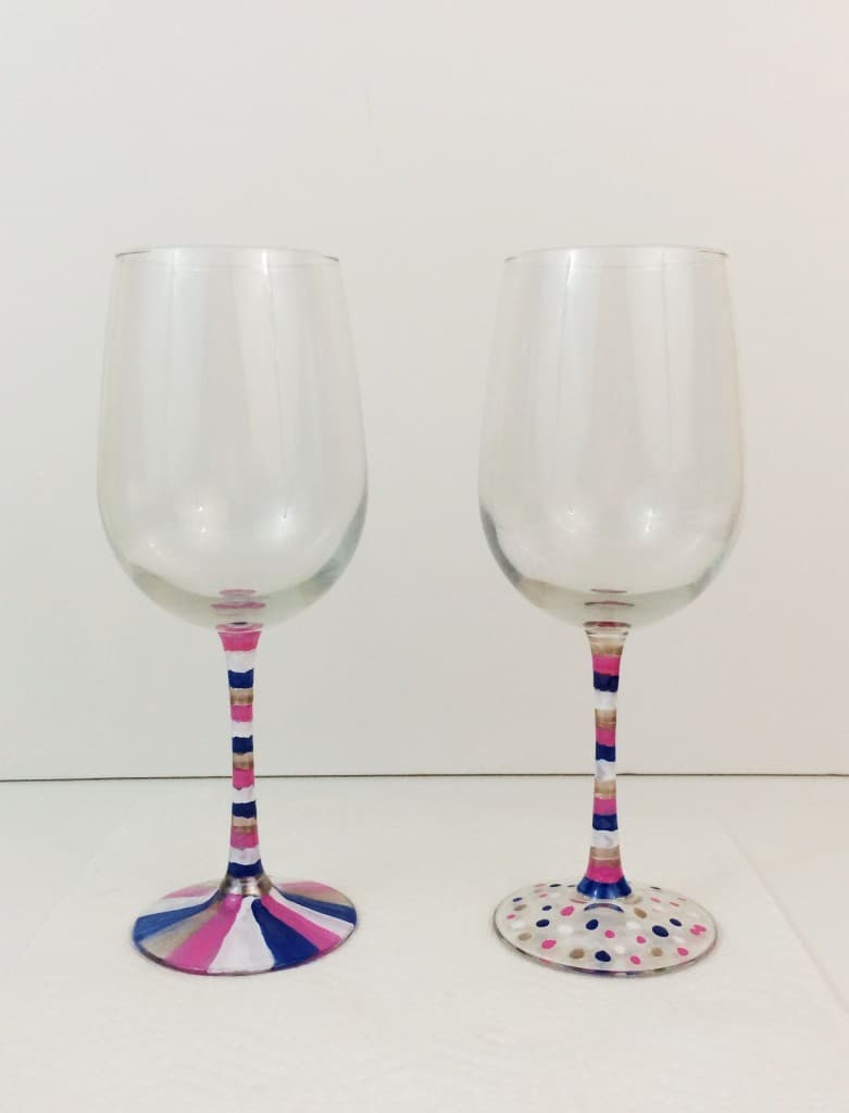 Diy wine glass stripes