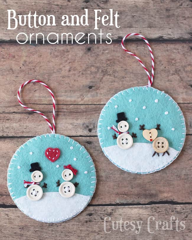 Felt diy christmas ornaments button snowman