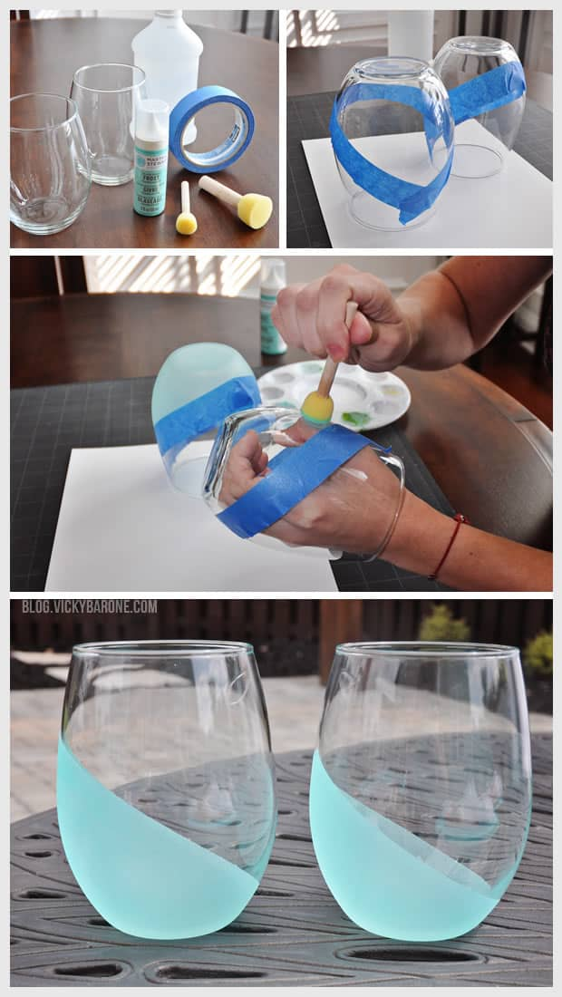 Frosted diy wine glasses