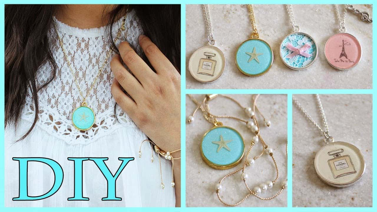 Girly resin necklace diy