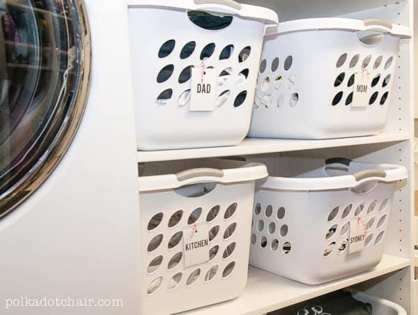 Laundry basket stacked organization