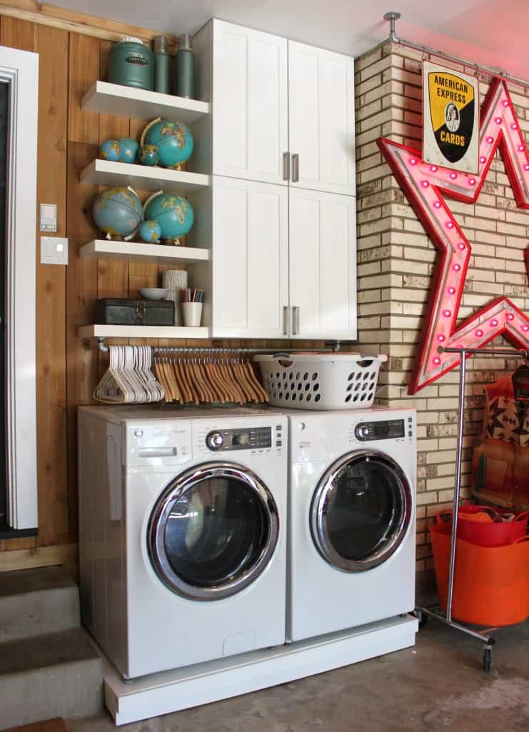 Organize up in small laundry closet