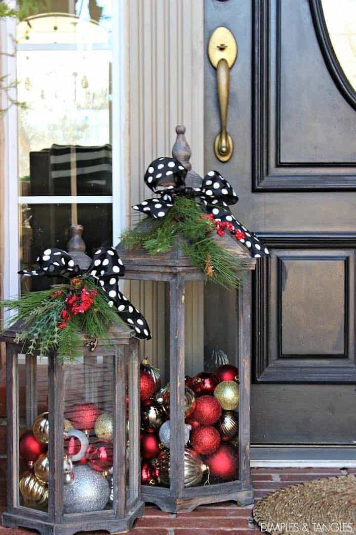 Ornament filled lanterns diy