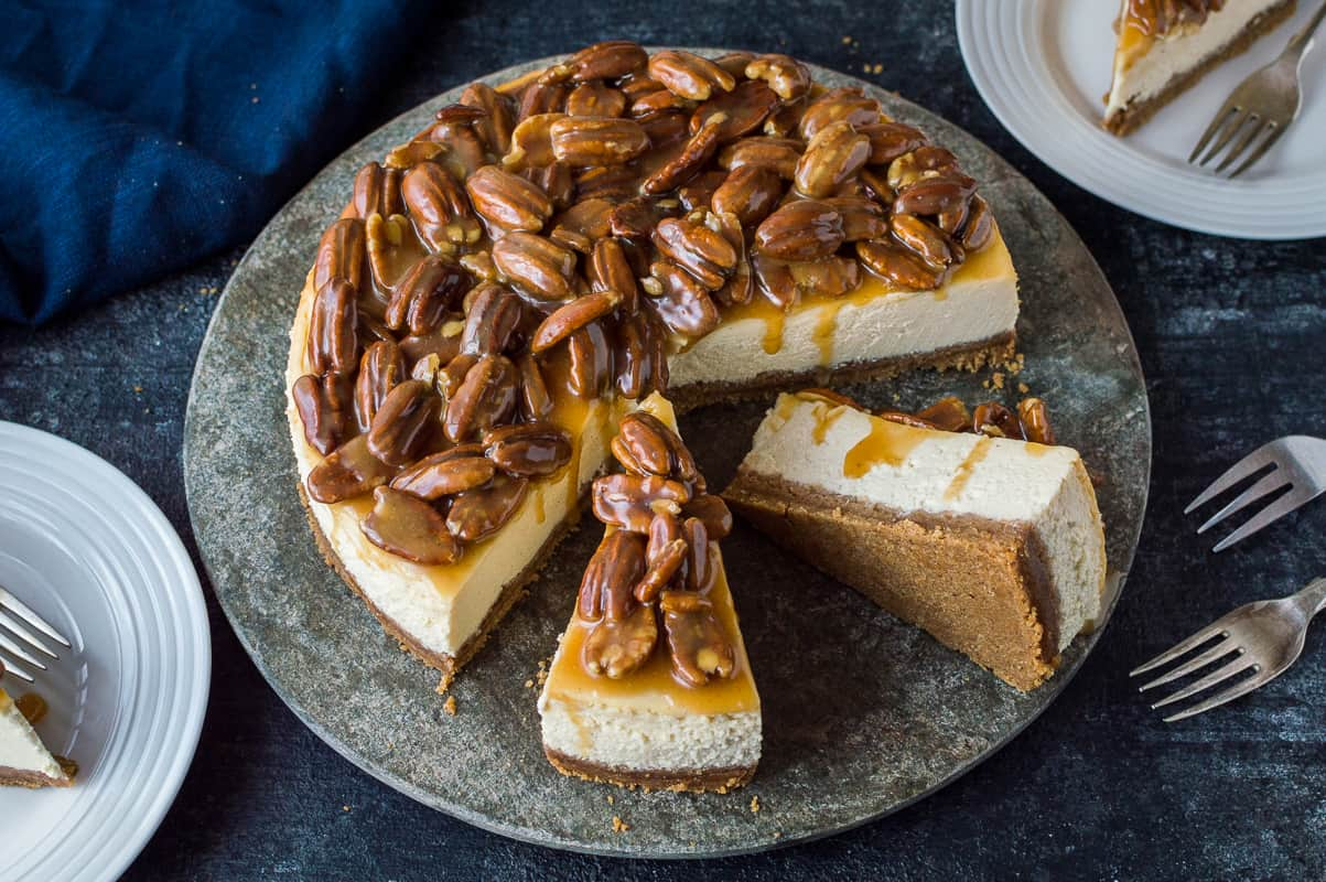 Pecan pie cheesecake – two amazing desserts rolled into one; the perfect way to shake up your Thanksgiving dinner!