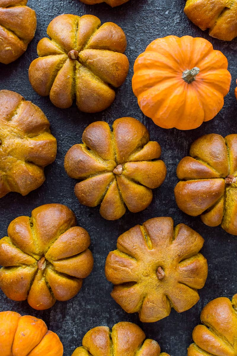 Thanksgiving pumpkin dinner rolls - serve these at your Thanksgiving celebration to really impress all your guests!