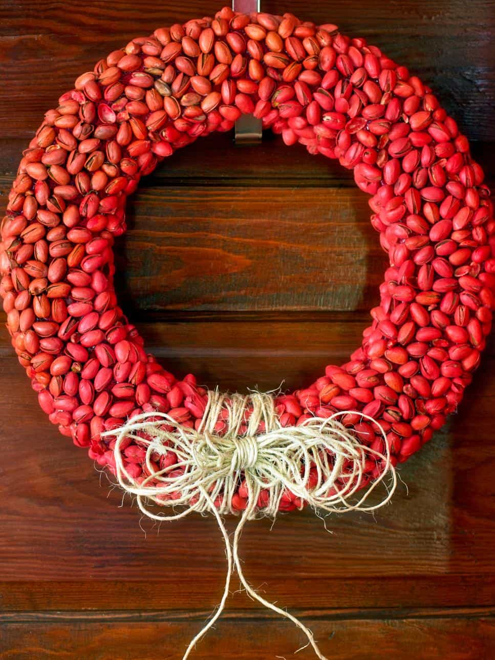 Red pistachio diy wreath