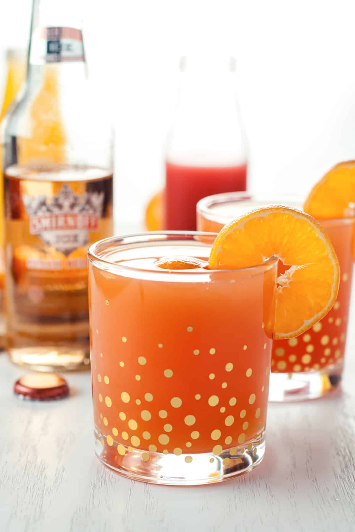 Screwed peach mimosas cocktail