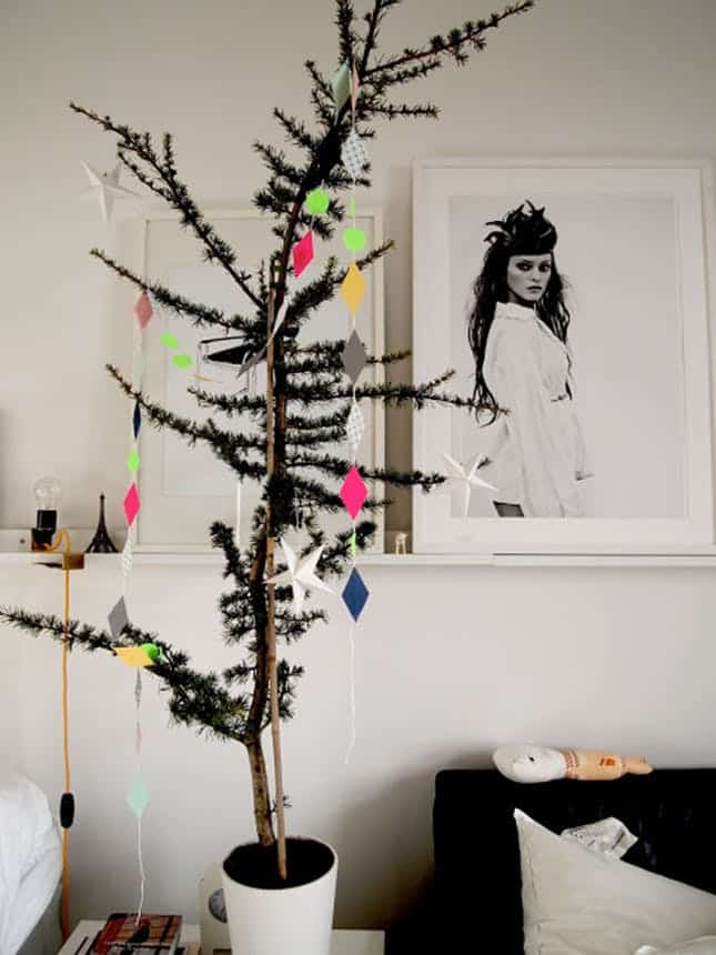 Skinny black modern christmas tree
