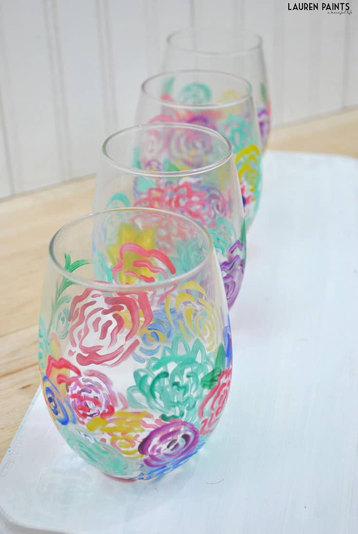 Spring flowers diy wine glasses