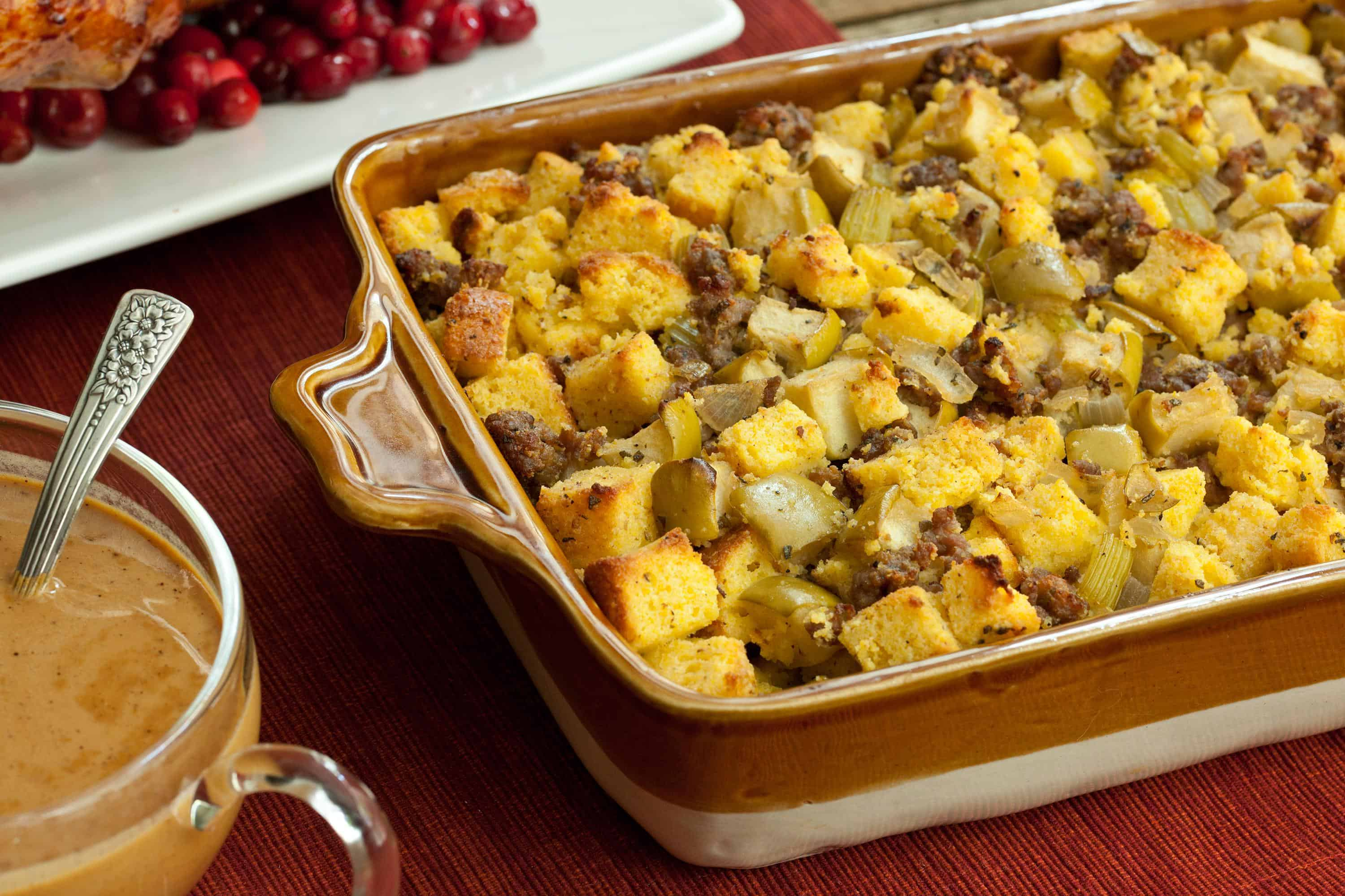 Apple sausage cornbread stuffing