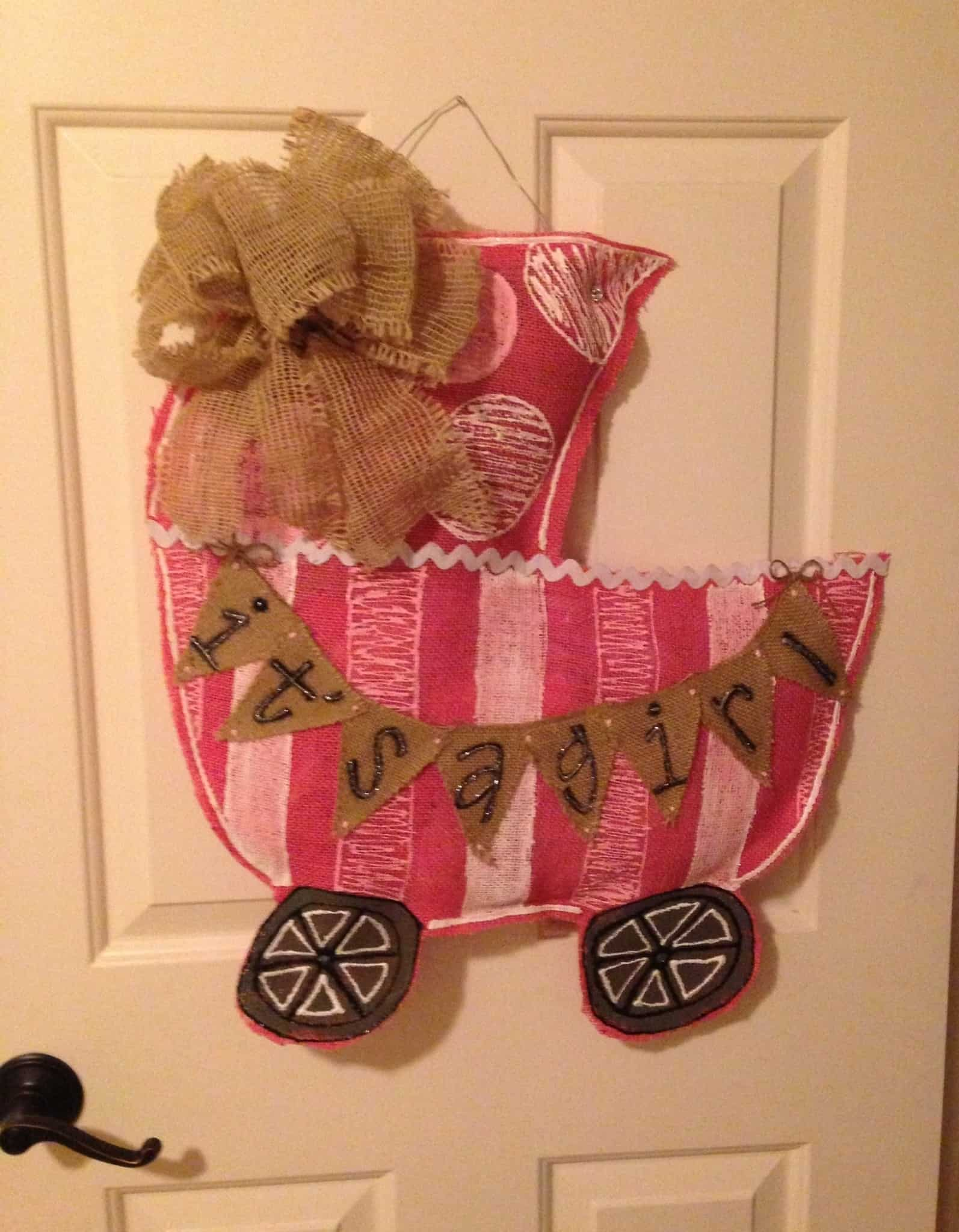 Baby girl door hanger
