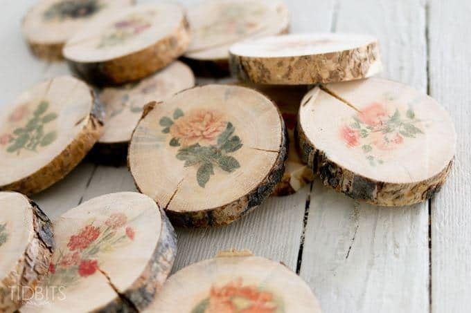 Botanical wood slices diy
