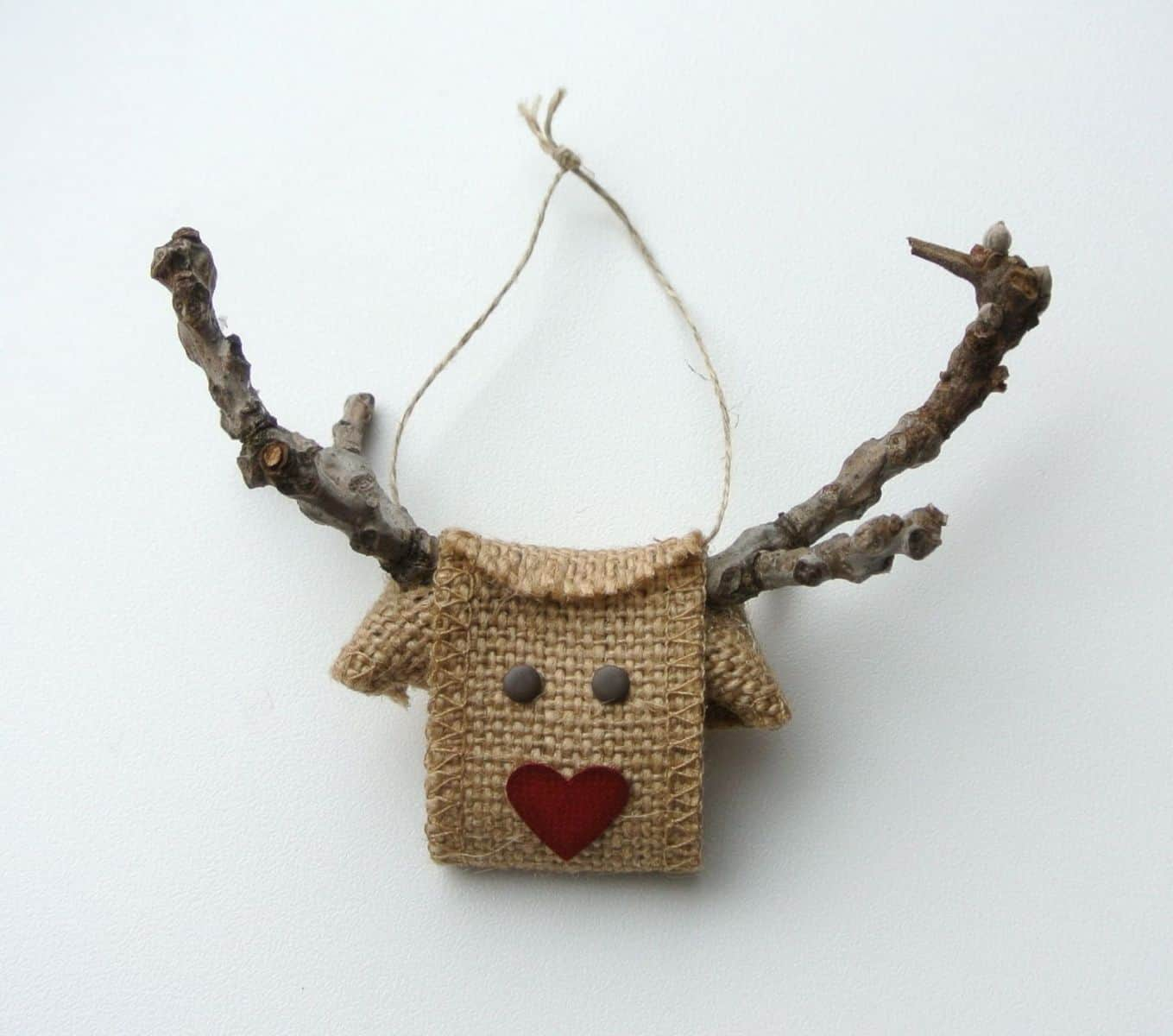 Burlap and branch hanging reindeer ornament