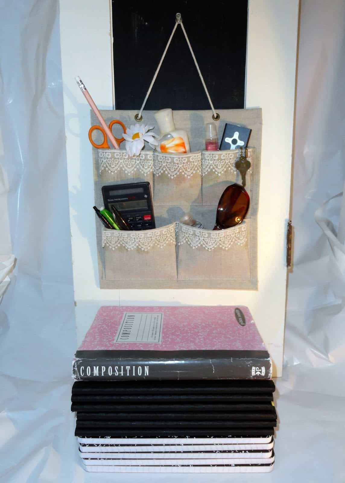 Burlap and lace decoupage locker organizer