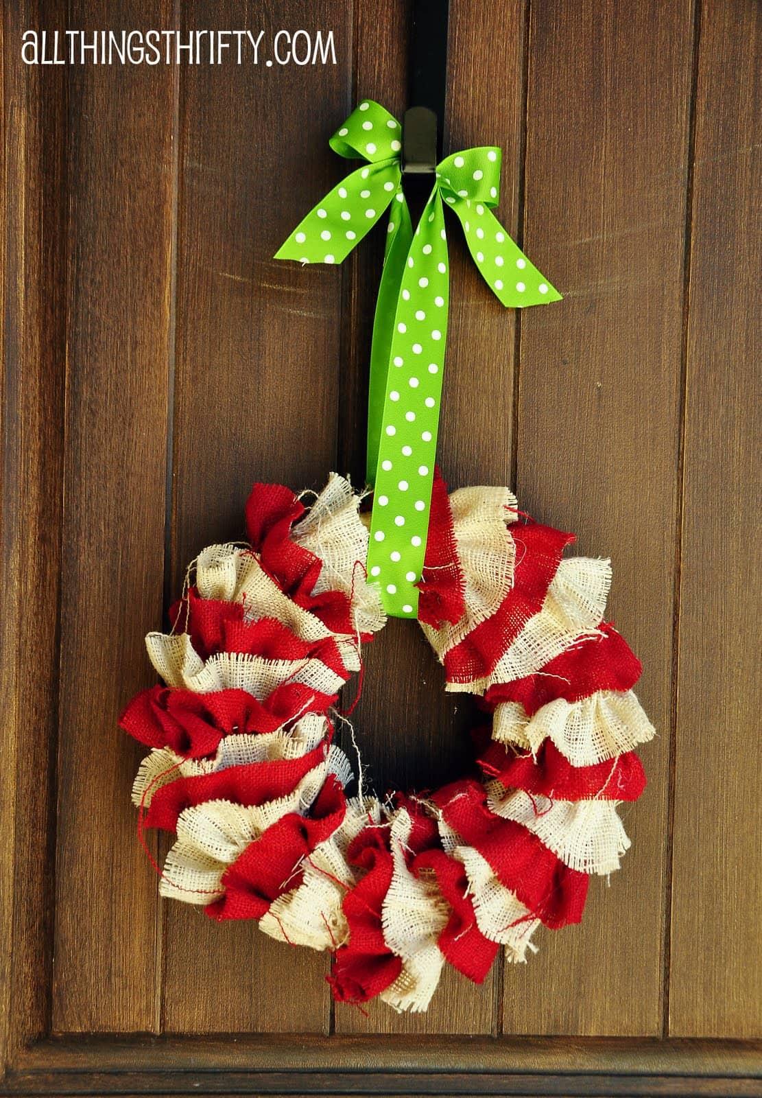 Burlap ruffles wreath