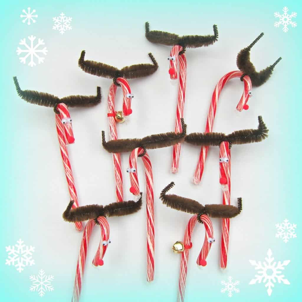 Candy cane and pipe cleaner reindeer